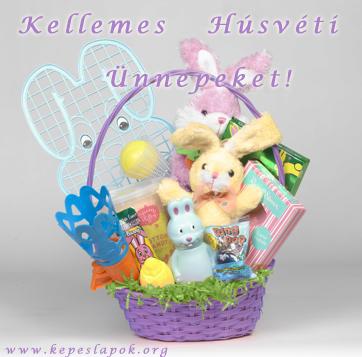 húsvéti képeslap ajándékkosár