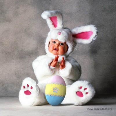 baba nyúl húsvéti képeslap