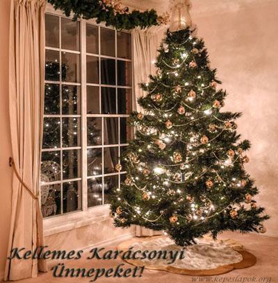 kellemes karácsonyi ünnepeket karácsonyfa képeslap